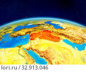 Islamic State on planet Earth with country borders and highly detailed planet surface and clouds. 3D illustration. Elements of this image furnished by NASA. Стоковое фото, фотограф Zoonar.com/Tomas Griger / easy Fotostock / Фотобанк Лори