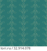 Seamless floral geometric abstract tiled pattern in green, baroque palette with decor, twigs, leaves, lines, monograms, fabric texture, textile, silk, wallpaper, gift wrapping paper, packaging. Стоковая иллюстрация, иллюстратор Светлана Евграфова / Фотобанк Лори