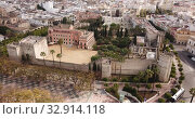 Aerial view of Catholic Cathedral and famous Alcazar of Jerez de la Frontera, Spain (2019 год). Стоковое видео, видеограф Яков Филимонов / Фотобанк Лори