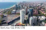 Купить «View from drone of Diagonal Mar district on sunny fall day, Barcelona, Spain», видеоролик № 32914178, снято 4 октября 2019 г. (c) Яков Филимонов / Фотобанк Лори