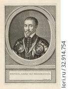 Portrait of Hendrik van Brederode Henrik, lord of Brederode (title on object), Bust of Hendrik van Brederode, lord of Vianen in an oval. The portrait rests... Редакционное фото, фотограф ARTOKOLORO QUINT LOX LIMITED / age Fotostock / Фотобанк Лори