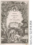 Title page for 'Poesies pastorales', 1771, Central the title of the book. Around the title garden ornaments and some putti. Under the print two kissing... Редакционное фото, фотограф ARTOKOLORO QUINT LOX LIMITED / age Fotostock / Фотобанк Лори