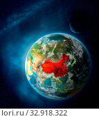 Купить «China from space on Earth surrounded by space with Moon and Milky Way. Detailed planet surface with city lights and clouds. 3D illustration. Elements of this image furnished by NASA.», фото № 32918322, снято 12 июля 2020 г. (c) easy Fotostock / Фотобанк Лори