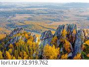 Купить «Rocks on the crimson mountain near Beloretsk in the Southern Urals in Bashkortostan.», фото № 32919762, снято 15 сентября 2019 г. (c) Акиньшин Владимир / Фотобанк Лори