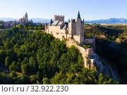 Купить «Aerial view of fortress Alcazar of Segovia. Spain», фото № 32922230, снято 17 июня 2019 г. (c) Яков Филимонов / Фотобанк Лори
