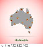Australia is on fire. Social depiction of wildfires in Australia. Стоковая иллюстрация, иллюстратор Бражников Андрей / Фотобанк Лори