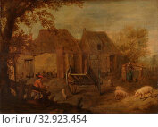 Barnyard, A farmyard with a pig herder, a wagon and a woman standing by the well., anonymous, Southern Netherlands, c. 1640, panel, oil paint (paint), h 32 cm × w 45.5 cm × h 50 cm × w 63 cm × t 8 cm. Редакционное фото, фотограф ARTOKOLORO QUINT LOX LIMITED / age Fotostock / Фотобанк Лори