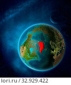 Купить «Planet Earth with highlighted Greenland in space with Moon and Milky Way. Visible city lights and country borders. 3D illustration. Elements of this image furnished by NASA.», фото № 32929422, снято 12 июля 2020 г. (c) easy Fotostock / Фотобанк Лори