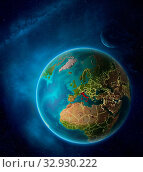 Купить «Planet Earth with highlighted Italy in space with Moon and Milky Way. Visible city lights and country borders. 3D illustration. Elements of this image furnished by NASA.», фото № 32930222, снято 12 июля 2020 г. (c) easy Fotostock / Фотобанк Лори