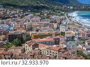 Panorama of Cefalu seen from tourist path on Rocca di Cefalu rock massif in Cefalu city and comune on the Tyrrhenian coast of Sicily, Italy. Стоковое фото, фотограф Konrad Zelazowski / easy Fotostock / Фотобанк Лори