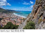 View from tourist path on Rocca di Cefalu rock massif in Cefalu city and comune on the Tyrrhenian coast of Sicily, Italy. Стоковое фото, фотограф Konrad Zelazowski / easy Fotostock / Фотобанк Лори