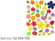 Купить «Пасхальный бордюр из декоративных элементов. Цветы, птицы, яйца и листья из фетра с красочными стежками по краям. Красивая аппликация на белом», фото № 32934758, снято 9 января 2020 г. (c) Дорощенко Элла / Фотобанк Лори