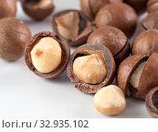 Set macadamia nuts isolated. Стоковое фото, фотограф Ольга Сергеева / Фотобанк Лори