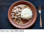 Russian cuisine dish - served portion of Beef Stroganoff (Beef Stroganov, Befstroganov) pieces of stewed meat in sour cream with boiled rice on brown plate on dark table. Стоковое фото, фотограф Zoonar.com/Valery Voennyy / easy Fotostock / Фотобанк Лори