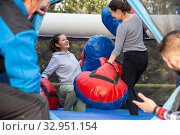 Women boxing on inflatable ring. Стоковое фото, фотограф Яков Филимонов / Фотобанк Лори