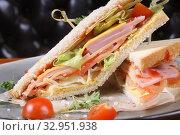 Купить «Сендвич с ветчиной», эксклюзивное фото № 32951938, снято 17 ноября 2015 г. (c) Инна Козырина (Трепоухова) / Фотобанк Лори