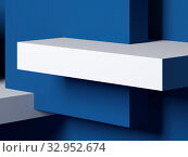 Купить «Abstract minimal background with white and classic blue boxes 3 d», иллюстрация № 32952674 (c) EugeneSergeev / Фотобанк Лори