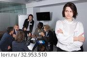 Купить «Portrait of upset young woman in boardroom», фото № 32953510, снято 12 февраля 2018 г. (c) Яков Филимонов / Фотобанк Лори