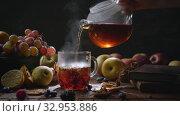 Купить «Homey still life with hot tea», видеоролик № 32953886, снято 3 июня 2020 г. (c) Данил Руденко / Фотобанк Лори