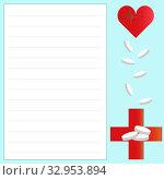 Купить «Pills, medical red cross, heart with a cardiogram. Blank pharmaceutical prescription image on a blue background with copy space. Pharmacy heart medicine, heart attack, analgesic, antidepressant», иллюстрация № 32953894 (c) Светлана Евграфова / Фотобанк Лори