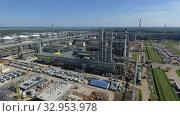 Aerial view of oil refinery area, Russia. Стоковое видео, видеограф Данил Руденко / Фотобанк Лори