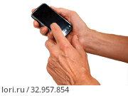 Gestenserie, Hand hält Smartphone. Стоковое фото, фотограф Zoonar.com/manfred2000 / easy Fotostock / Фотобанк Лори