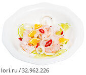 Shrimp ceviche with lime, mandarine and chili pepper. Стоковое фото, фотограф Яков Филимонов / Фотобанк Лори