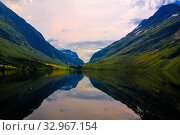 Panorama view to Eidsvatnet lake near Skogmo,Nord-Trondelag, Norway (2017 год). Стоковое фото, фотограф Сергей Майоров / Фотобанк Лори
