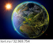 Czech republic from space. Planet Earth with network representing international communication, technology and travel. 3D illustration. Elements of this image furnished by NASA. Стоковое фото, фотограф Zoonar.com/Tomas Griger / easy Fotostock / Фотобанк Лори