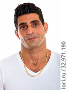 Купить «Studio shot of face of young muscular Persian man isolated against white background», фото № 32971190, снято 26 января 2020 г. (c) easy Fotostock / Фотобанк Лори