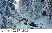 Купить «Aerial Video of frozen forest river Pescherka near waterfall in winter season», видеоролик № 32971962, снято 19 января 2020 г. (c) Serg Zastavkin / Фотобанк Лори