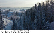 Aerial Video of lifting up in siberian forest in winter. Rays of the Sun shine through the trees. Стоковое видео, видеограф Serg Zastavkin / Фотобанк Лори