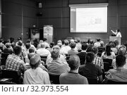 Купить «Audience in the lecture hall attending scientific business conference.», фото № 32973554, снято 3 июля 2014 г. (c) Matej Kastelic / Фотобанк Лори