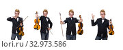Купить «Young musician with violin isolated on white», фото № 32973586, снято 17 января 2014 г. (c) Elnur / Фотобанк Лори