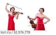 Купить «Young girl with violin on white», фото № 32976778, снято 10 мая 2013 г. (c) Elnur / Фотобанк Лори