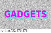 Гаджеты, Gadgets. Word about problem on noisy old screen. Looping VHS interference. Vintage animated background. 4K video footage. Стоковая анимация, видеограф Dmitry Domashenko / Фотобанк Лори