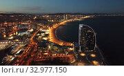 Evening view of Barceloneta and Port Vell. Barcelona. Spain (2019 год). Стоковое видео, видеограф Яков Филимонов / Фотобанк Лори
