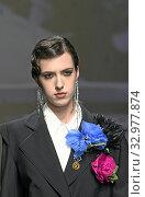 Купить «Fashion show by Morfosis, model on catwalk at AltaRoma 2020, Rome, ITALY-24-01-2020.», фото № 32977874, снято 24 января 2020 г. (c) age Fotostock / Фотобанк Лори