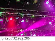 Купить «Stage lights. Soffits. Concert light», фото № 32982286, снято 25 февраля 2020 г. (c) Евгений Ткачёв / Фотобанк Лори