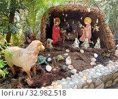 Купить «Рождественский вертеп во дворе монастыря Герасима Иорданского, Израиль», фото № 32982518, снято 11 января 2020 г. (c) Irina Opachevsky / Фотобанк Лори