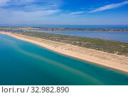 Aerial view on sand beach and Black sea. Стоковое фото, фотограф Михаил Коханчиков / Фотобанк Лори