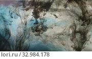 Купить «A slow motion of blue and black paints beautifully blurring in the water», видеоролик № 32984178, снято 25 февраля 2020 г. (c) Данил Руденко / Фотобанк Лори