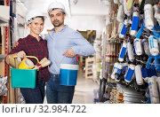 couple in helmet with paint and instruments. Стоковое фото, фотограф Яков Филимонов / Фотобанк Лори