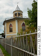 Купить «Tyarlevo, Pavlovsk, SAINT PETERSBURG, RUSSIA - september 11, 2019: neogothic Pavilion the dairy Farm, built in 1834, Architect C. Rossi», фото № 32985302, снято 11 сентября 2019 г. (c) Короленко Елена / Фотобанк Лори