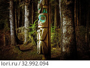 Купить «Totem pole beside tourist trail in Sitka National Historical Park in Sitka, Alaska, USA.», фото № 32992094, снято 14 марта 2016 г. (c) age Fotostock / Фотобанк Лори