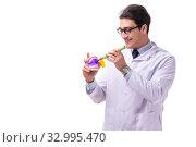 Купить «Young male doctor stomatologist isolated on white», фото № 32995470, снято 27 февраля 2018 г. (c) Elnur / Фотобанк Лори