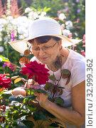 Довольная дачница 60 лет в широкополой белой шляпе наслаждается запахом красных садовых роз на дачном участке, вертикально. Стоковое фото, фотограф Лариса Капусткина / Фотобанк Лори