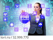 Businessman in edge and fog computing concept. Стоковое фото, фотограф Elnur / Фотобанк Лори
