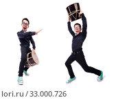Купить «Funny man with drum on white», фото № 33000726, снято 13 мая 2013 г. (c) Elnur / Фотобанк Лори