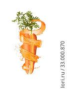 Купить «Cut natural organic carrot with splashes.», фото № 33000870, снято 22 февраля 2020 г. (c) Ярослав Данильченко / Фотобанк Лори